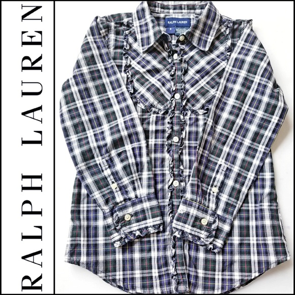 addcecf09 Ralph Lauren Shirts & Tops | Girls Plaid Ruffle Buttondown | Poshmark